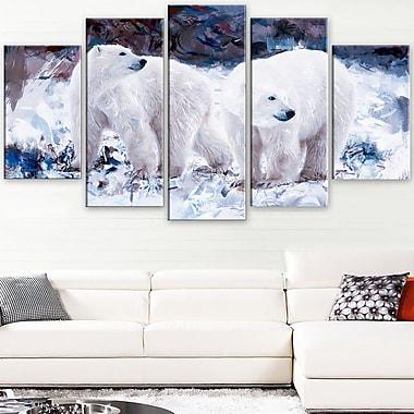 Copains ours polaires art mural animal en métal, 60 x 32, 5 panneaux (MT2307-373)