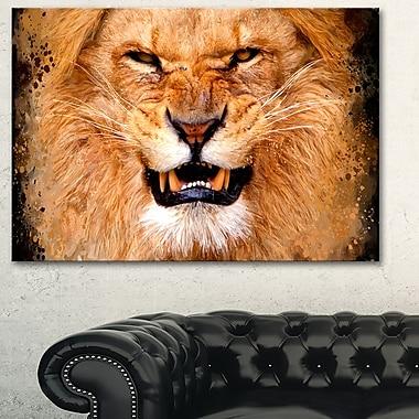 Lion fâché art mural animal en métal, 28 x 12 (MT2308-28-12)
