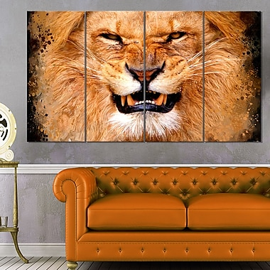 Angry Lion Animal Metal Wall Art, 48x28, 4 Panels, (MT2308-271)