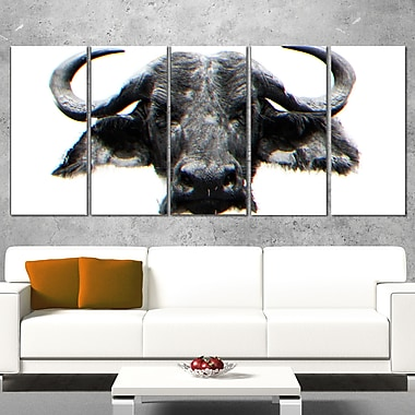 Stare of the Bull Animal Metal Wall Art, 60x28, 5 Panels, (MT2309-401)