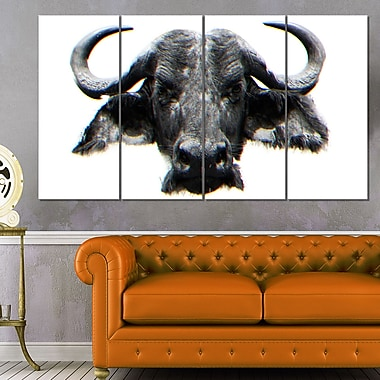 Stare of the Bull Animal Metal Wall Art, 48x28, 4 Panels, (MT2309-271)