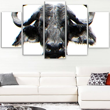 Stare of the Bull Animal Metal Wall Art, 60x32, 5 Panels, (MT2309-373)