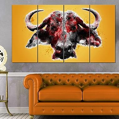Angry Bull Animal, art mural en métal, 48 x 28, 4 panneaux (MT2310-271)