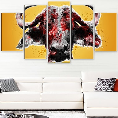Angry Bull Animal Metal Wall Art, 60x32, 5 Panels, (MT2310-373)