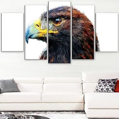 Golden Eagle Animal Metal Wall Art, 60x32, 5 Panels, (MT2311-373)