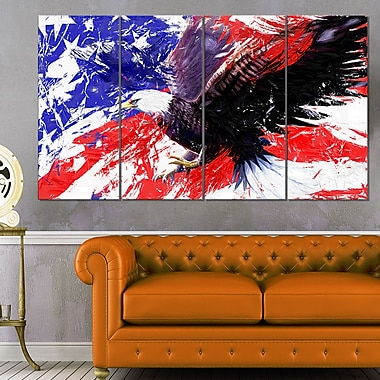 American Bald Eagle Animal Metal Wall Art, 48x28, 4 Panels, (MT2313-271)