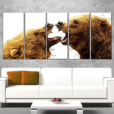 Bear Fight Animal Metal Wall Art, 60x28, 5 Panels, (MT2314-401)