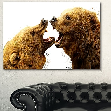 Art mural en métal d'animal, combat d'ours, 28 x 12 po, (MT2314-28-12)