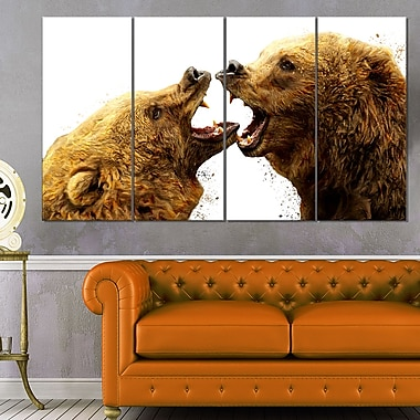 Bear Fight Animal Metal Wall Art, 48x28, 4 Panels, (MT2314-271)