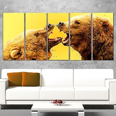 Bear Fight Animal Metal Wall Art, 60x28, 5 Panels, (MT2315-401)