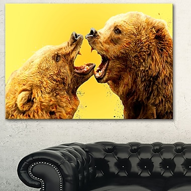 Bear Fight Animal Metal Wall Art, 28x12, (MT2315-28-12)