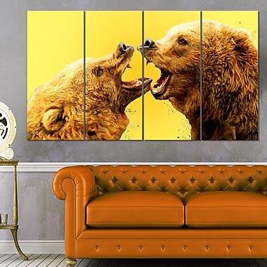Art mural en métal d'animal, combat d'ours, 48 x 28 po, 4 panneaux, (MT2315-271)