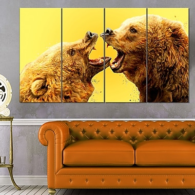 Bear Fight Animal Metal Wall Art, 48x28, 4 Panels, (MT2315-271)