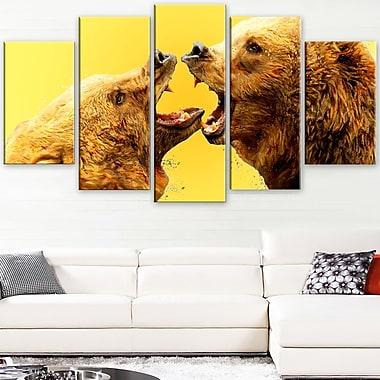 Bear Fight Animal Metal Wall Art, 60x32, 5 Panels, (MT2315-373)