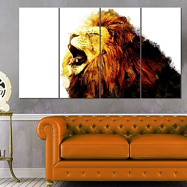Roaring Lion Animal Metal Wall Art, 48x28, 4 Panels, (MT2316-271)