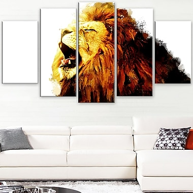 Art mural en métal d'animal, lion rugissant, 60 x 32 po, 5 panneaux, (MT2316-373)