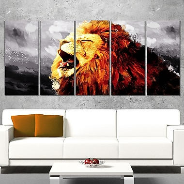 Roaring Lion Animal Metal Wall Art, 60x28, 5 Panels, (MT2317-401)