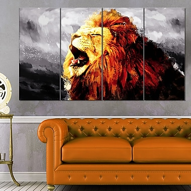 Roaring Lion Animal Metal Wall Art, 48x28, 4 Panels, (MT2317-271)
