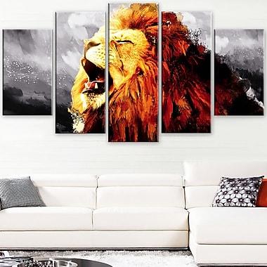 Art mural en métal d'animal, lion rugissant, 60 x 32 po, 5 panneaux, (MT2317-373)