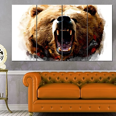 Warning Roar Animal Metal Wall Art, 48x28, 4 Panels, (MT2318-271)