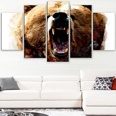 Warning Roar Animal Metal Wall Art, 60x32, 5 Panels, (MT2318-373)