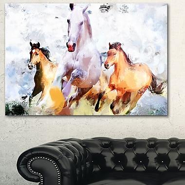 Art mural en métal, chevaux qui galopent côte à côte, 28 x12 (MT2319-28-12)