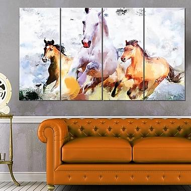 Art mural en métal, chevaux qui galopent côte à côte, 48 x 28, 4 panneaux (MT2319-271)