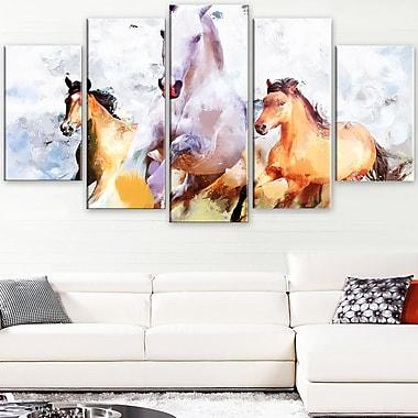 Art mural en métal, chevaux qui galopent côte à côte, 60 x 32, 5 panneaux (MT2319-373)