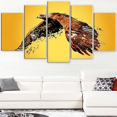 Art mural en métal à thème animal aigle en hauteur, 60 x 32, 5 panneaux (MT2320-373)