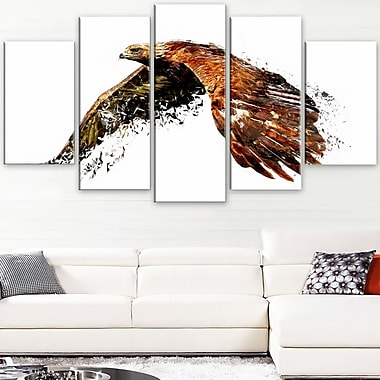 Soaring Eagle Animal Metal Wall Art, 60x32, 5 Panels, (MT2321-373)