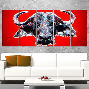 Angry Bull Animal Metal Wall Art, 60x28, 5 Panels, (MT2324-401)