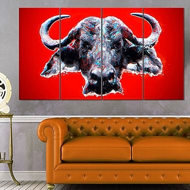 Angry Bull Animal Metal Wall Art, 48x28, 4 Panels, (MT2324-271)