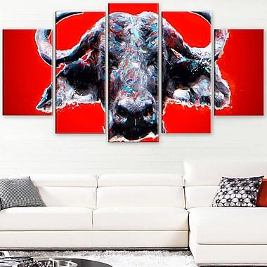 Art mural en métal à thème animal, taureau furieux, 60 x 32, 5 panneaux (MT2324-373)