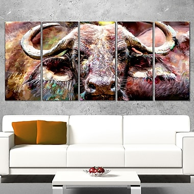 Bull in the Herd Animal Metal Wall Art, 60x28, 5 Panels, (MT2325-401)