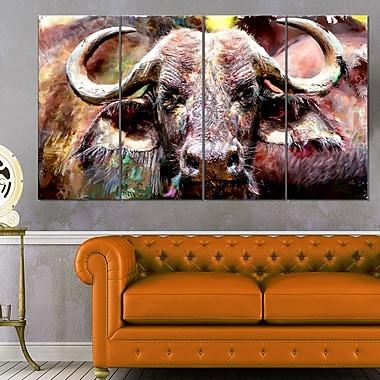 Art mural en métal à thème animal, taureau au milieu du troupeau, 48 x 28, 4 panneaux (MT2325-271)