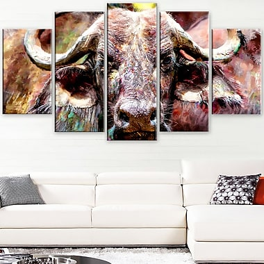 Bull in the Herd Animal Metal Wall Art, 60x32, 5 Panels, (MT2325-373)