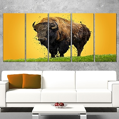 Lone Bison Animal Metal Wall Art, 60x28, 5 Panels, (MT2326-401)