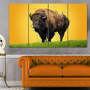 Art mural en métal, bison solitaire, 48 x 28 po, 4 panneaux, (MT2326-271)