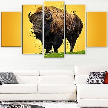 Art mural en métal, bison solitaire, 60 x 32 po, 5 panneaux, (MT2326-373)