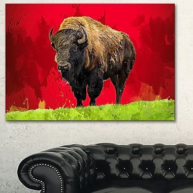 Lone Bison Animal Metal Wall Art, 28x12, (MT2327-28-12)