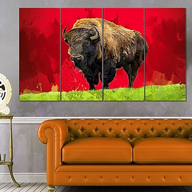 Bison solitaire, art mural en métal, 48 x 28, 4 panneaux, (MT2327-271)