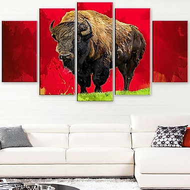 Lone Bison Animal Metal Wall Art, 60x32, 5 Panels, (MT2327-373)