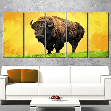 Lone Bison Animal Metal Wall Art, 60x28, 5 Panels, (MT2328-401)