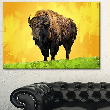 Lone Bison Animal Metal Wall Art, 28x12, (MT2328-28-12)
