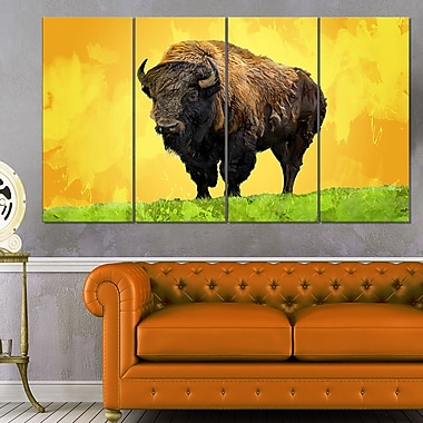 Lone Bison Animal Metal Wall Art, 48x28, 4 Panels, (MT2328-271)