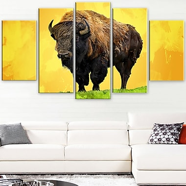 Lone Bison Animal Metal Wall Art, 60x32, 5 Panels, (MT2328-373)