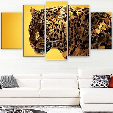 Tacheté vu art mural animal en métal, 60 x 32, 5 panneaux (MT2331-373)