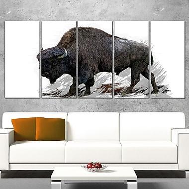 Migrating Bison Animal Metal Wall Art, 60x28, 5 Panels, (MT2333-401)