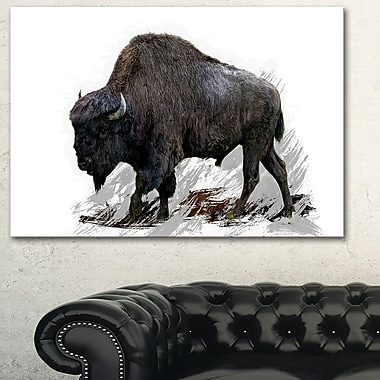 Migrating Bison Animal Metal Wall Art, 28x12, (MT2333-28-12)
