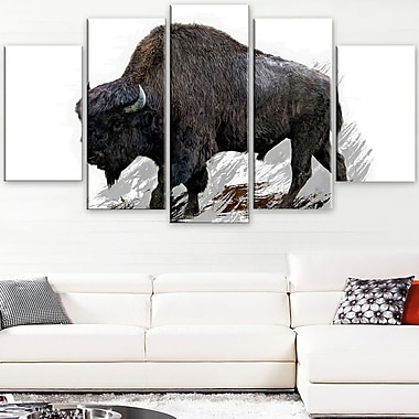 Migrating Bison Animal Metal Wall Art, 60x32, 5 Panels, (MT2333-373)